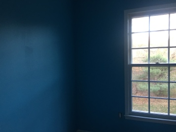 The spare room painted the color of the sky